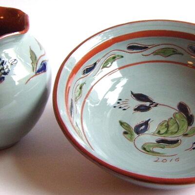 Trønderkeramikk skål og vase ishavsblå